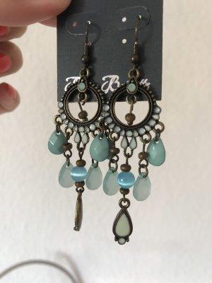 Ohrringe lang türkis blaue Steine Geschenkidee Bijou Brigitte