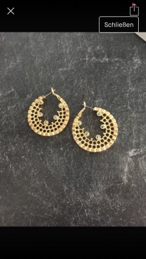 Ear Hoops gold-colored-turquoise