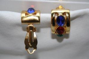 Ohrringe m. Clip vergoldet / Modeschmuck / m. bunten Steinen / NEU !