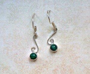 Ohrringe Malachit Silberfarben Grün