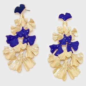 Ohrringe Metall gold blau