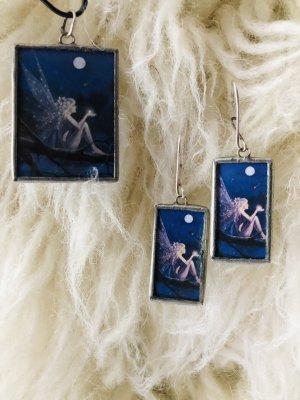 Silver Earrings white-steel blue