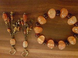 Ohrringe mit Armband in Apricot und Braun