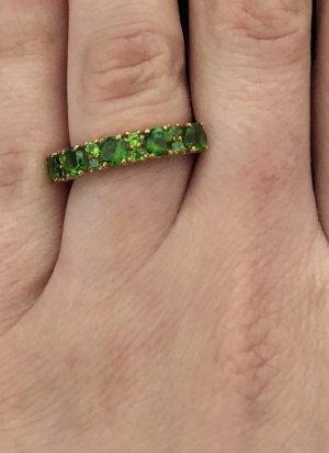 Ohrringe mit Ring Russischer Chromdiopsid Gold 375 NEU