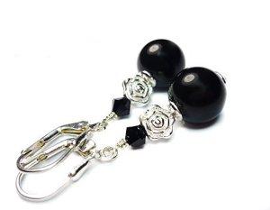Ohrringe mit schwarzen Perlen - 925 Silber
