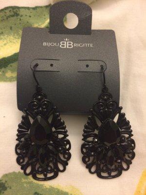 Ohrringe mit Spitze und in der Miete schwarzes Kristall Stein