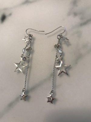 Ohrringe mit Sternen und Strass Silber
