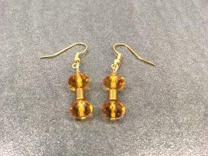 Ohrringe mit Swarovski Crystal und  Hämatit Edelstein In Gold & Bernstein