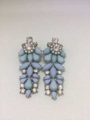Ohrringe Modeschmuck hellblau Silber Strass