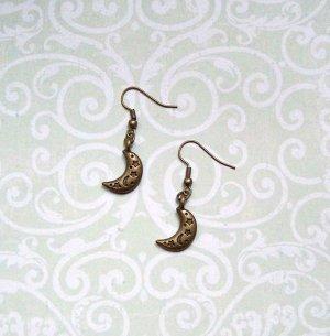 Ohrringe Mond Bronzefarben Vintage