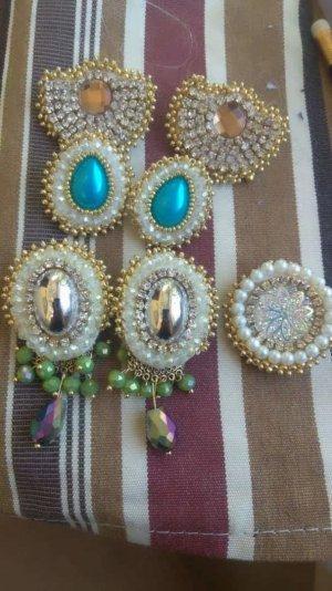 1.2.3 Paris Boucles d'oreilles en perles bleu fluo