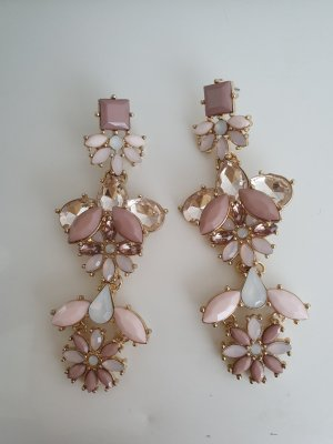 Boucle d'oreille incrustée de pierres doré-vieux rose