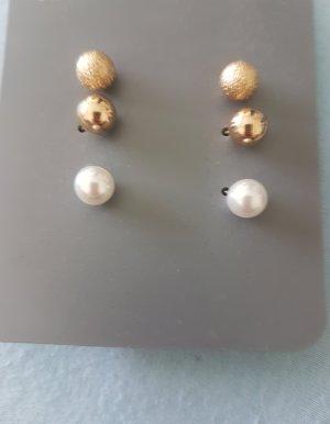 Pendientes de perlas blanco-color oro