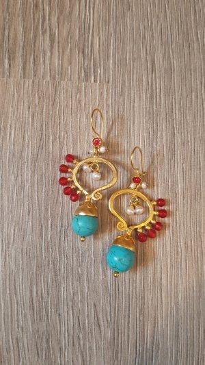 Ohrringe neu gold türkis rot Sommer ungetragen lang süß