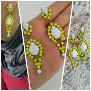 Ohrringe neu weiß neon gelb