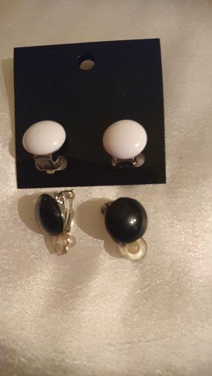 Pendientes de clip negro-blanco puro