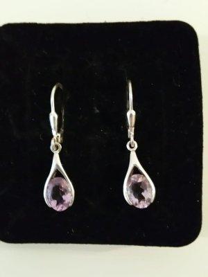 Pendientes colgante color plata-púrpura plata verdadero