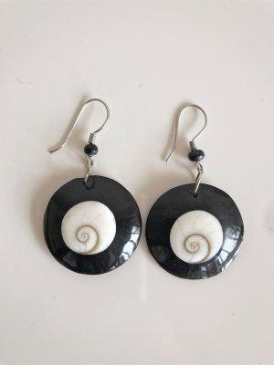 Ohrringe Ohrhänger Ethno schwarz weiß silber Perle Muschel