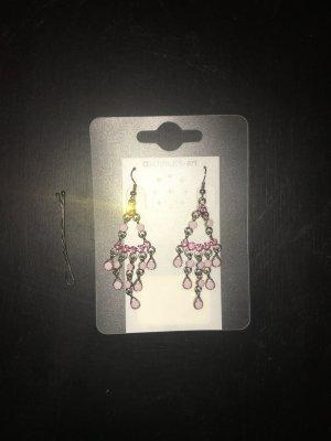 Ohrringe Ohrhänger Glamour edel rosa pink strasssteine Silber romantisch feminin Schmuck-art zeitlos Weihnachten Geschenk Silvester