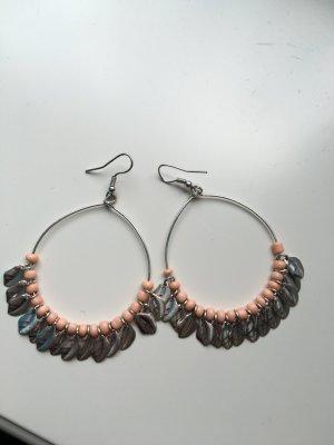 Ohrringe Ohrhänger Modeschmuck silber rosa boho