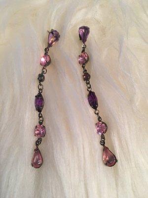Ohrringe, Ohrhänger, Ohrschmuck, Länge Hänger in pink und lila, Fashionista