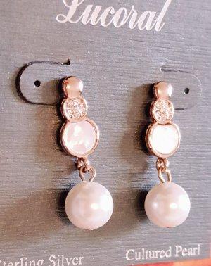 Ohrringe ohrhänger ohrstecker Perle Perlmutt Roségold vergoldet Boho Hochzeit