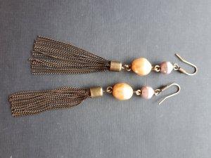 Ohrringe Ohrhänger Perlen Kettchen Bronze Rose Modeschmuck