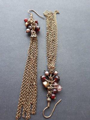 Ohrringe Ohrhänger Perlen und Kettchen Lila Rosa Weinrot Modeschmuck