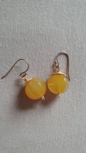 Pendientes de perlas color oro-naranja dorado