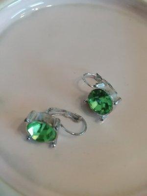 Ohrringe Ohrhänger Silber Grün Zirkon