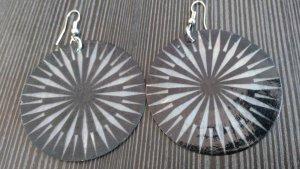 Ohrringe Ohrhänger Spiral Schwarz Weiß