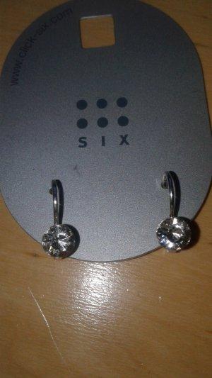 Ohrringe Ohrhänger Strass silberfarben SIX