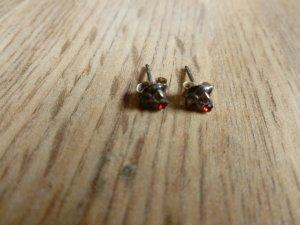 Clou d'oreille argenté-rouge carmin