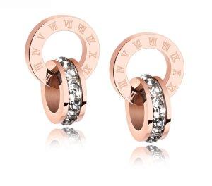 Ohrringe - Ohrstecker - Creolen  Doppelt Ringe   an einem Ring mit Römischen Zahlen versehen