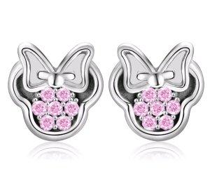 Ohrringe Ohrstecker Disney Mickey Maus 925 Silber Rosa Strass Damen Mode Schmuck