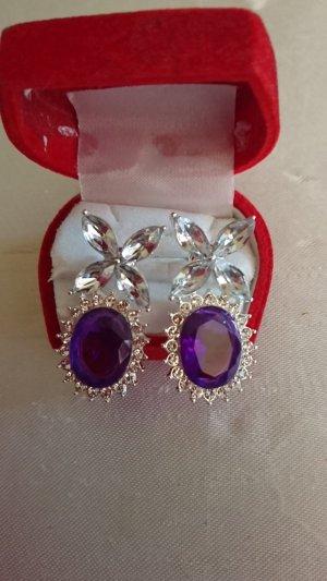 no name Clou d'oreille argenté-violet