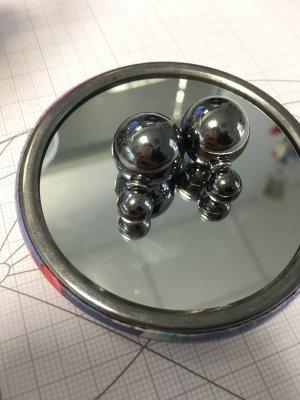 Ohrringe Ohrstecker Perlen dunkelgrau grau metallic Doppelstecker