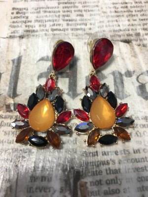 Ohrringe orange rot schwarz gold