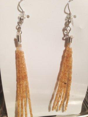 Ohrringe Perlen aufgereiht gelb Silber Farben Ohrstecker Neu OVP orange h m Boho