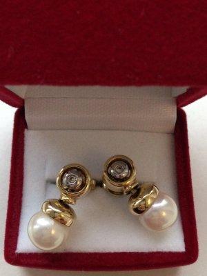 Ohrringe Perlen Gold Diamant aussergewöhnlich !