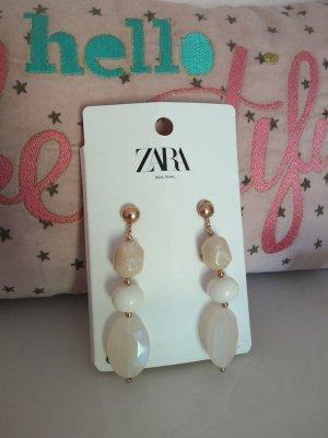 Ohrringe Perlen Steine Zara beige Creme nude