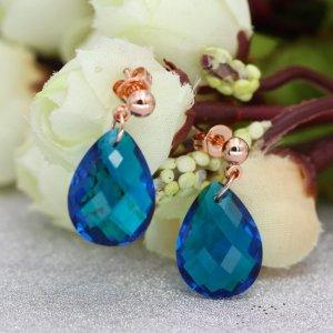 Ohrringe Rose Gold Vermeil on Sterling Silver mit Quartz bleu