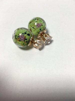 Ohrringe Rosen grün gold Vintage Doppelperlen
