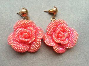 Ohrringe Rosen Lachs Rosa Pink Gold Stecker Vintage Blogger