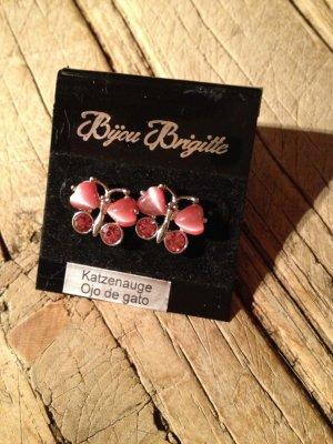 Ohrringe Schmetterling rosa Bijou Brigitte Edelstein Katzenauge NEU
