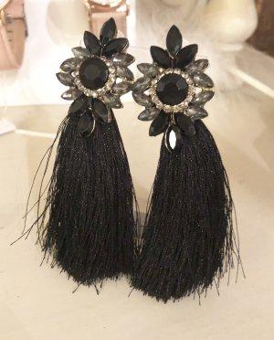 Ohrringe schwarz Quasten Fransen