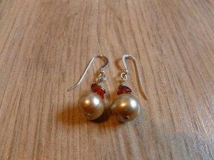 Ohrringe Silber 925 Perle beige braun
