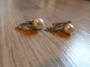 Ohrringe Silber 925 Perle creme Steinchen Neu