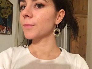 Ohrringe Silber mit Steinchen & 6 silbernen Kreisen