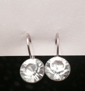 Ohrringe silber mit weißem Stein